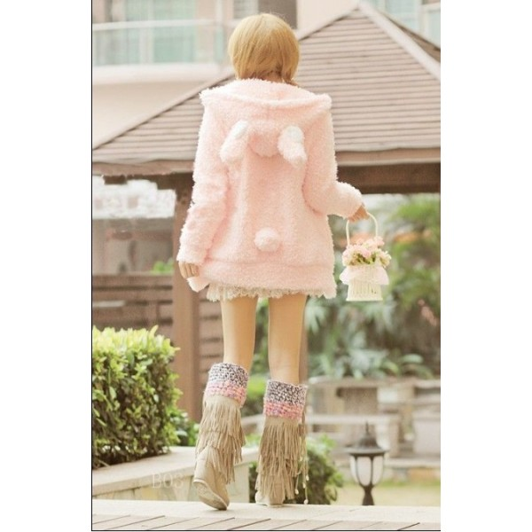 Manteau Lapin rose